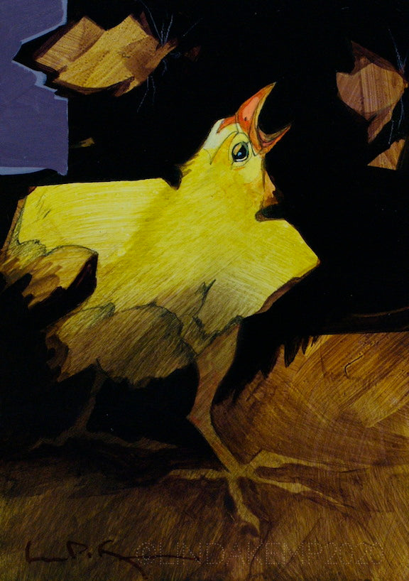 Yellow chick snaps in the air at brown moths. original acrylic painting  by Canadian Artist Linda Kemp