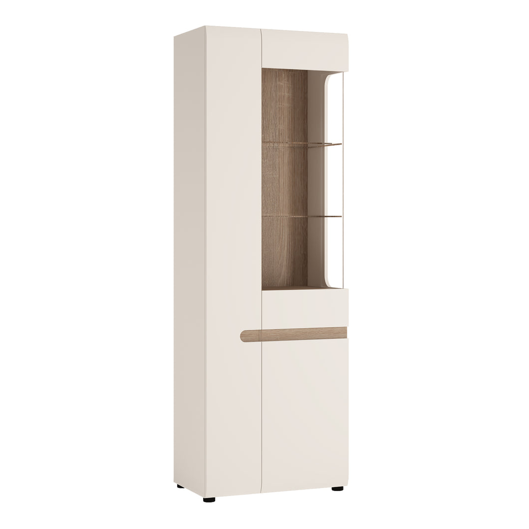 Tall Glazed Narrow Display Unit Lhd