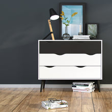 Load image into Gallery viewer, Chest of 4 Drawers (2+2) White and Black Matt