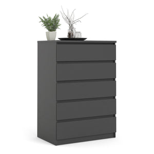 Chest of 5 Drawers Black Matt