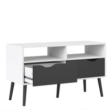 Load image into Gallery viewer, Tv Unit 2 Drawers in White and Black Matt