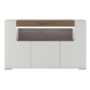 3 Door Sideboard with Open Shelving inc. Plexi Lighting