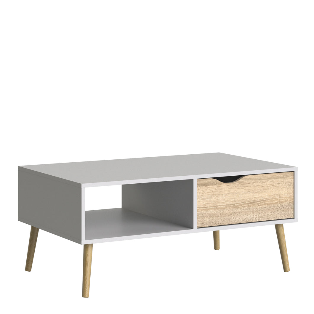 Oslo Coffee Table 1 Drawer 1 Shelf White and Oak