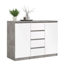 Load image into Gallery viewer, Sideboard 4 Drawers 2 Doors Concrete and White High Gloss