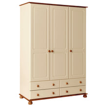 Load image into Gallery viewer, 3 Door 4 Drawer Robe Cream and Pine