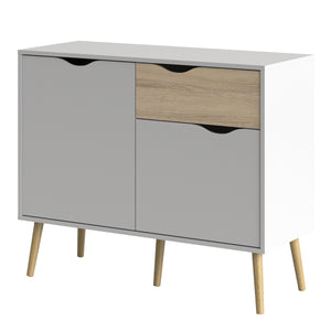 Sideboard Small 1 Drawer 2 Doors White and Oak