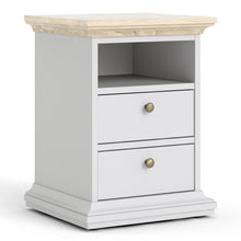Load image into Gallery viewer, Bedside 2 Drawers White and Oak