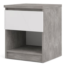 Load image into Gallery viewer, Naia Bedside 1 Drawer 1 Shelf in Concrete and White High Gloss