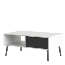 Load image into Gallery viewer, Coffee Table 1 Drawer 1 Shelf White and Black Matt