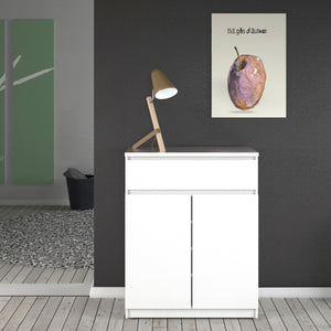 Sideboard 1 Drawer 2 Doors White High Gloss