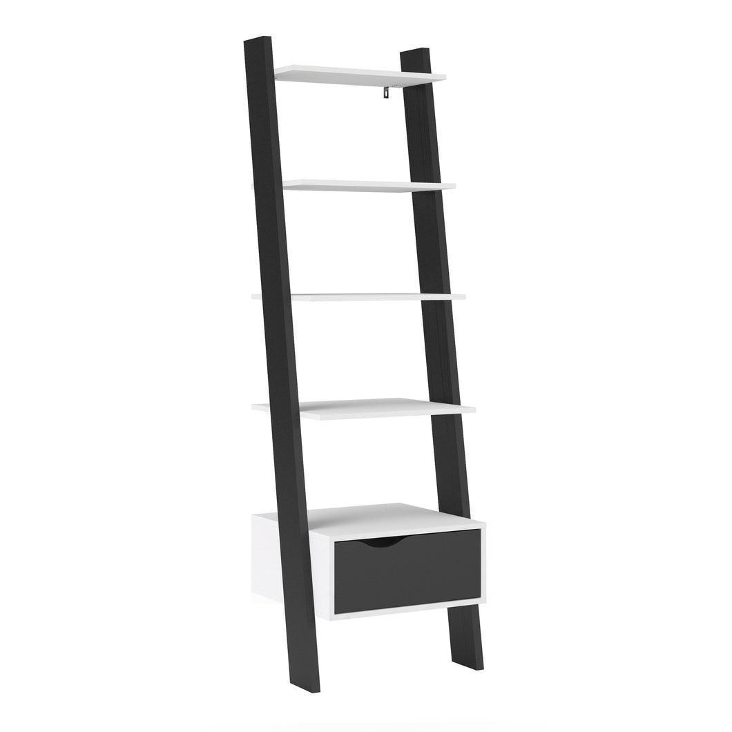 Leaning Bookcase 1 Drawer White and Black Matt