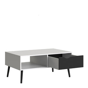 Coffee Table 1 Drawer 1 Shelf White and Black Matt