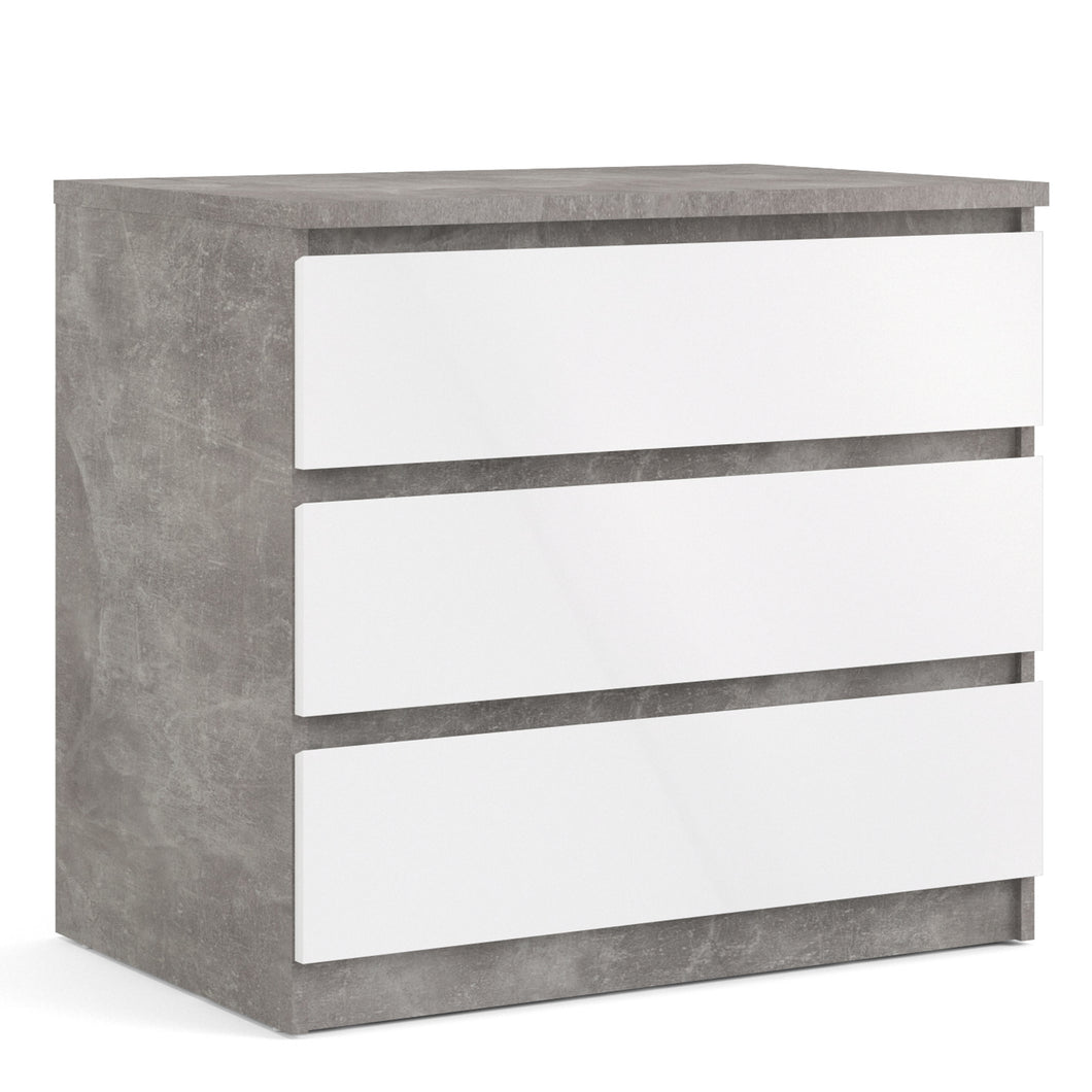 Naia Chest of 3 Drawers in Concrete and White High Gloss