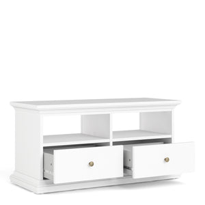 Tv Unit 2 Drawers 2 Shelves in White