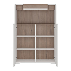Low 2 Door Cabinet with Open Shelf inc. Plexi Lighting