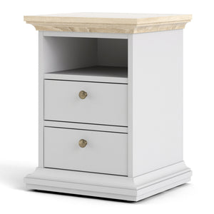 Bedside 2 Drawers White and Oak