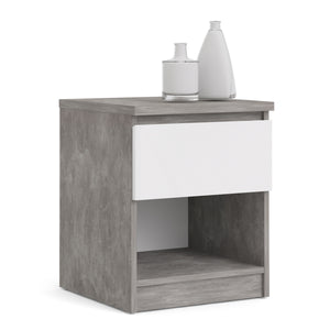 Naia Bedside 1 Drawer 1 Shelf in Concrete and White High Gloss