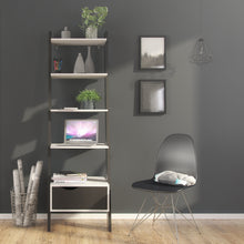 Load image into Gallery viewer, Leaning Bookcase 1 Drawer White and Black Matt