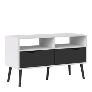Tv Unit 2 Drawers in White and Black Matt