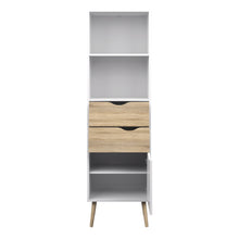 Load image into Gallery viewer, Bookcase 2 Drawers 1 Door White and Oak