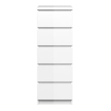 Load image into Gallery viewer, Narrow Chest of 5 Drawers White High Gloss