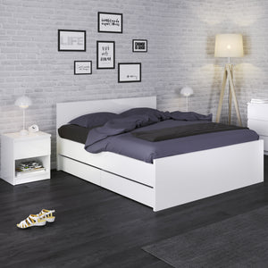Double Bed 140 x 190cm White High Gloss