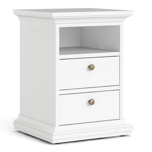 Bedside 2 Drawers White