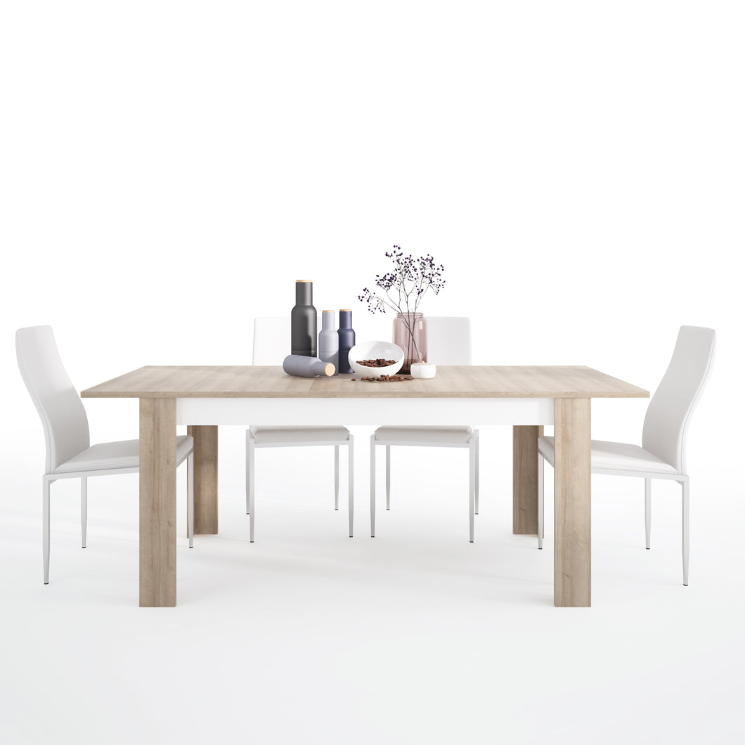 Dining Set Package Lyon Large Extending Dining Table 160 x 200cm 4 Milan High Back Chair White