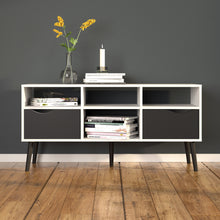 Load image into Gallery viewer, Tv Unit Wide 2 Drawers 4 Shelves in White and Black Matt