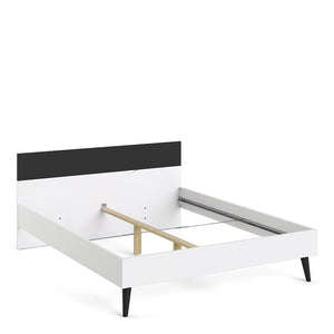 Oslo Euro King Bed 160 x 200cm White and Black Matt