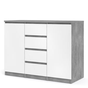 Sideboard 4 Drawers 2 Doors Concrete and White High Gloss