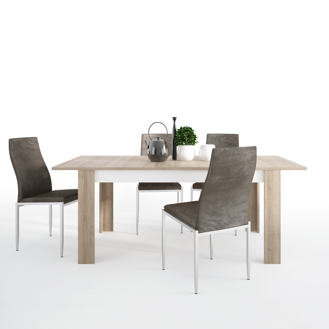 Dining Set Package Lyon Large Extending Dining Table 160 x 200cm 4 Milan High Back Chair Dark Brown
