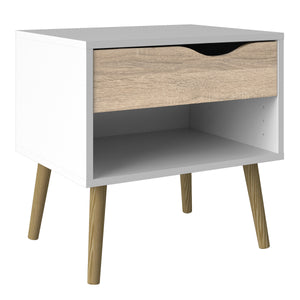 Bedside 1 Drawer White and Oak