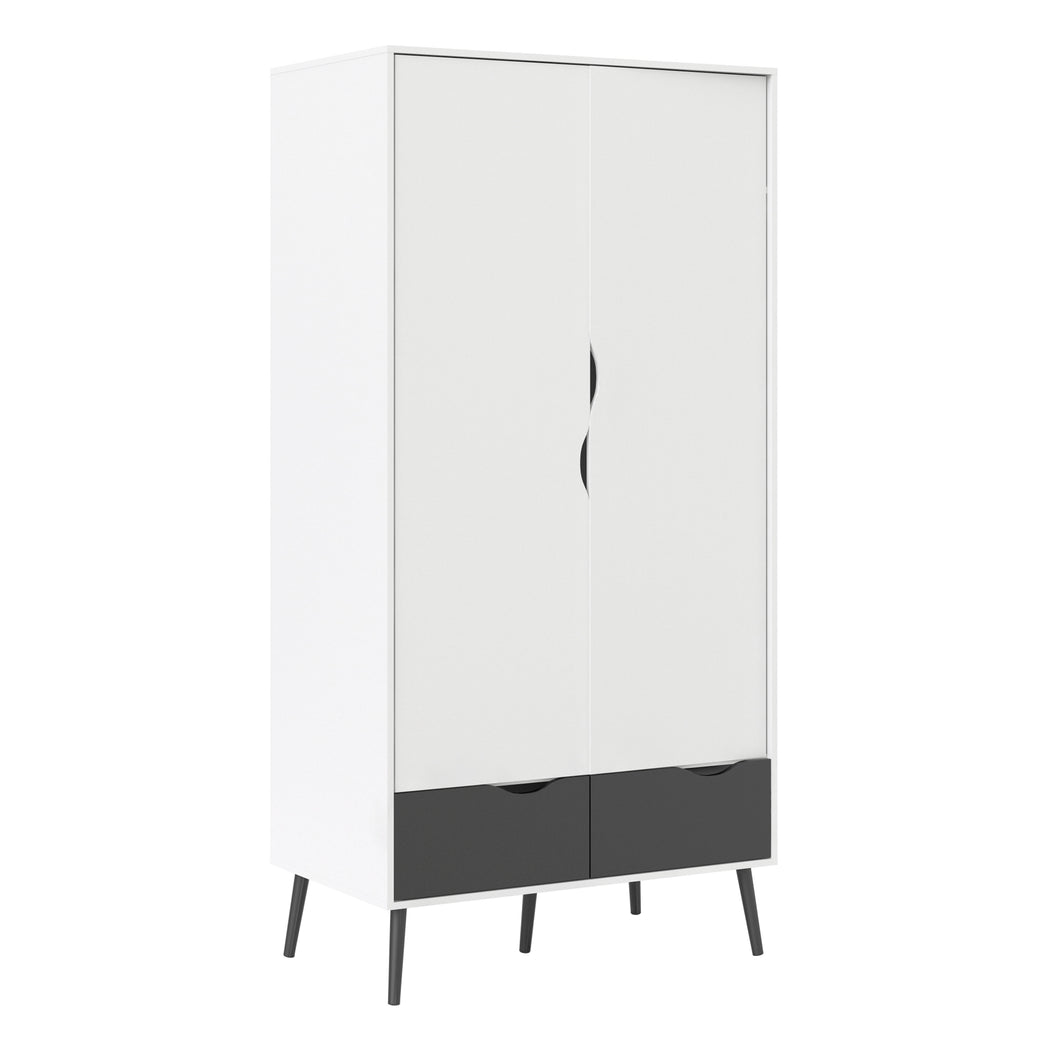 Wardrobe 2 Doors 2 Drawers in White and Black Matt