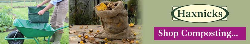 composting Banner showing compost sacks and Easy Riddle garden sieve