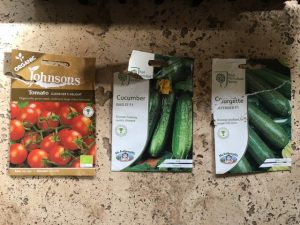 3 seed packets - tomatoes, cucumbers and courgettes