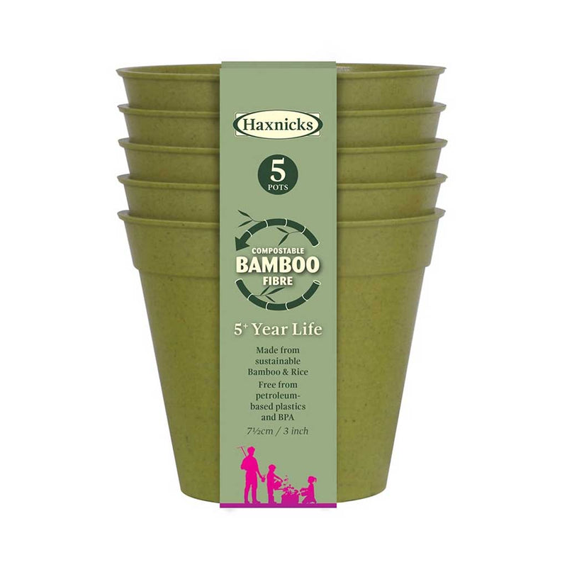 "Haxnicks- Bamboo Pot and Saucer 3"" (5 pack) - sage green pots packshot"