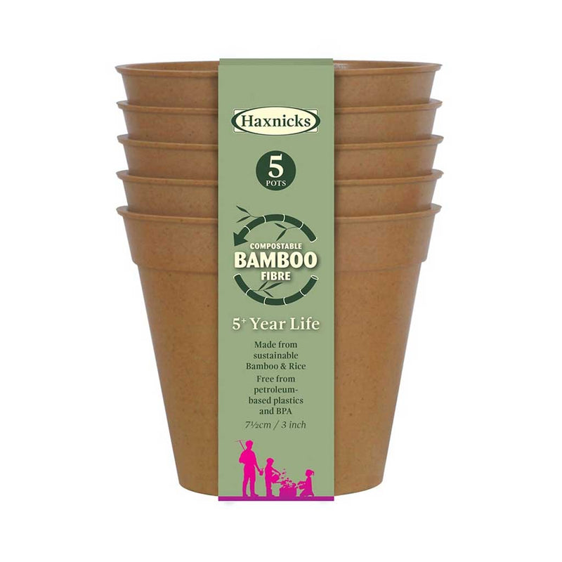 "Haxnicks- Bamboo Pot and Saucer 3"" (5 pack) - terracotta pots packshot"
