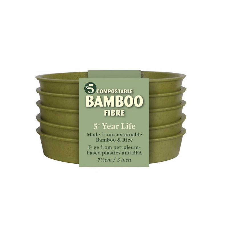 "Haxnicks- Bamboo Pot and Saucer 3"" (5 pack) - sage green saucer packshot"