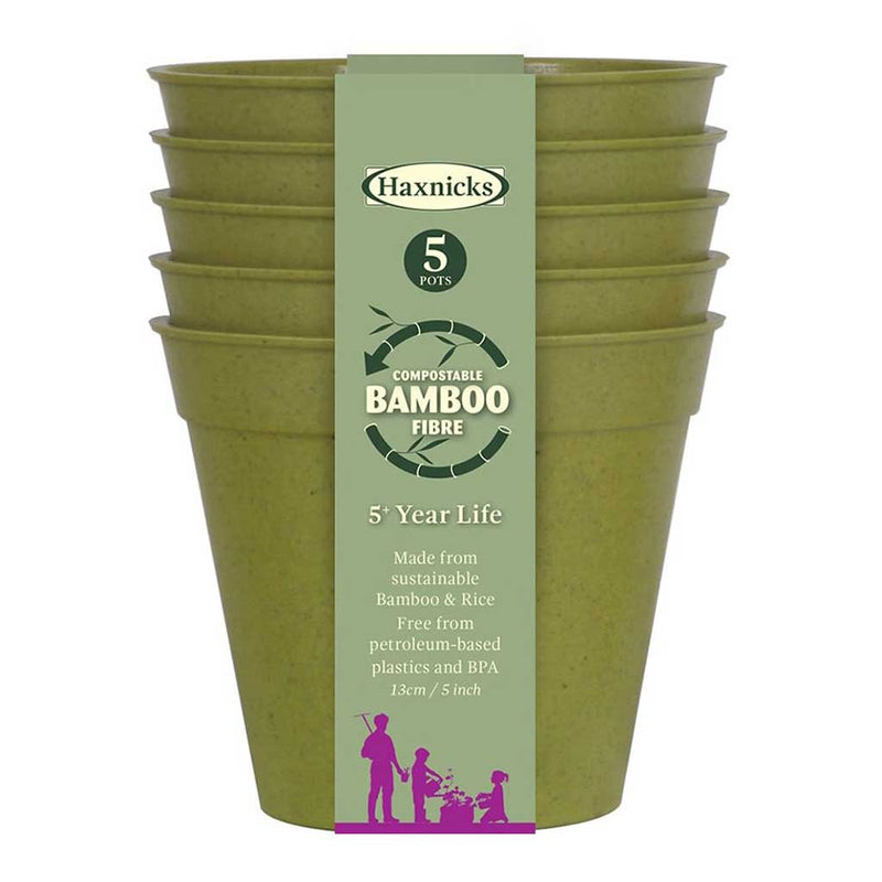 "Haxnicks- Bamboo Pot and Saucer 5"" (5 pack) - sage green pot packshot"