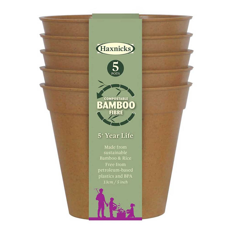 "Haxnicks- Bamboo Pot and Saucer 5"" (5 pack) - terracotta pot packshot"