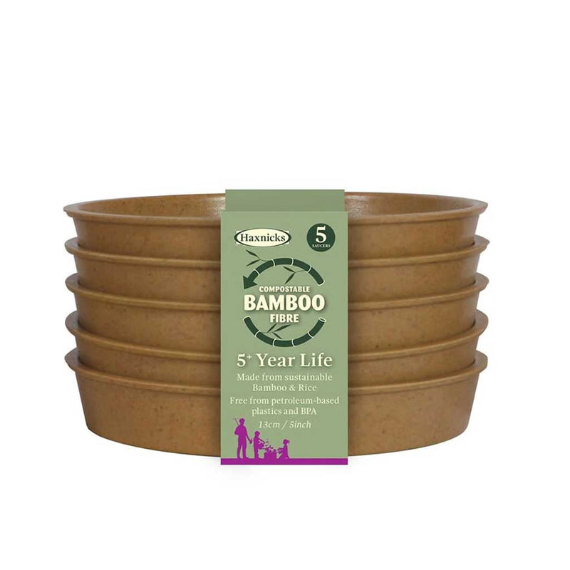 "Haxnicks- Bamboo Pot and Saucer 5"" (5 pack) - terracotta saucers packshot"