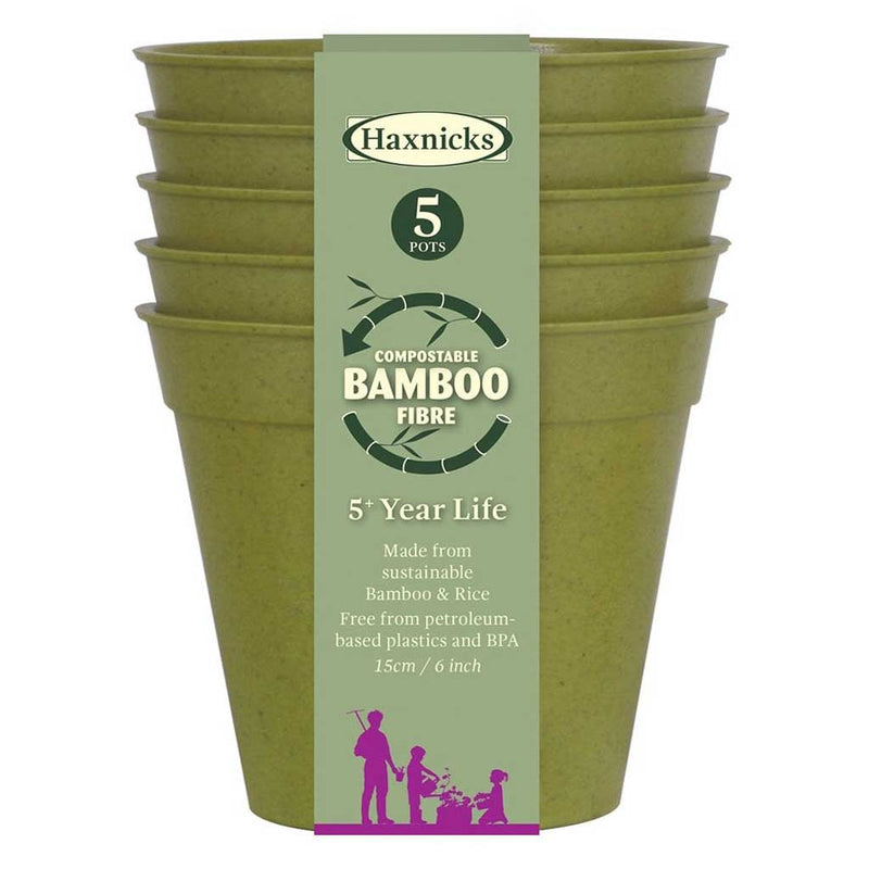 "Haxnicks- Bamboo Pot and Saucer 6"" (5 pack) - sage green pot packshot"