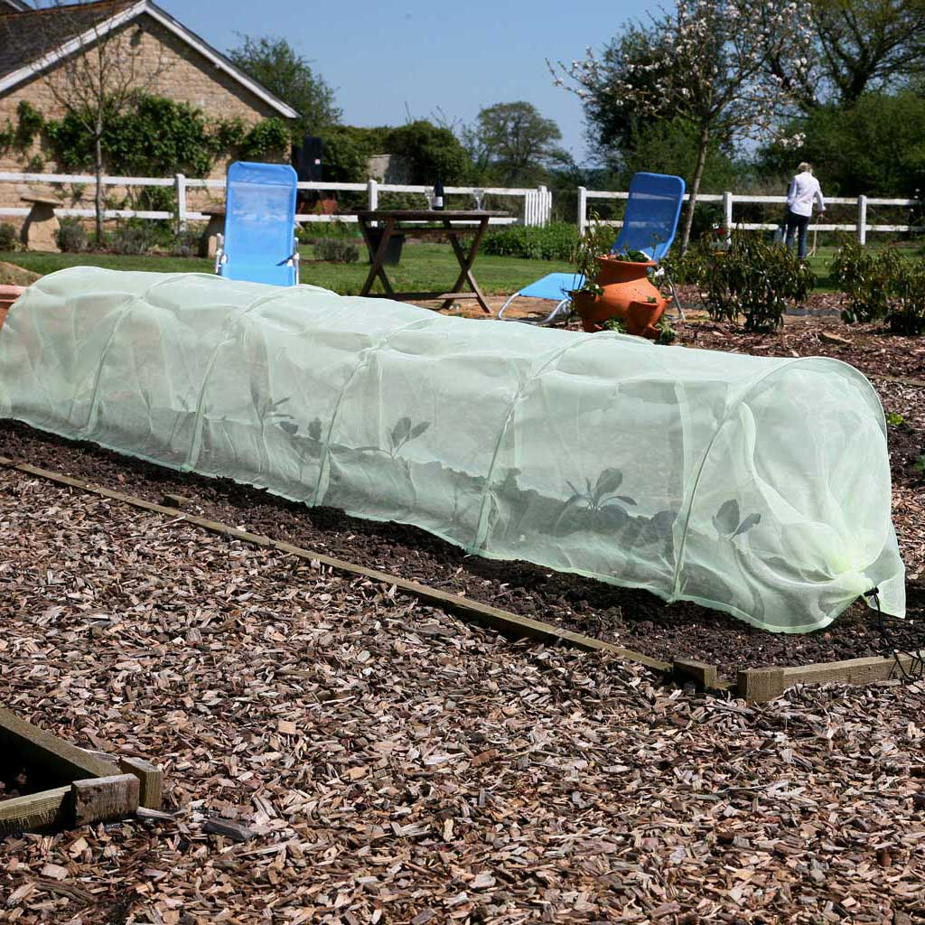 Haxnicks- giant Easy Micromesh Tunnel- in use on raised bed -
