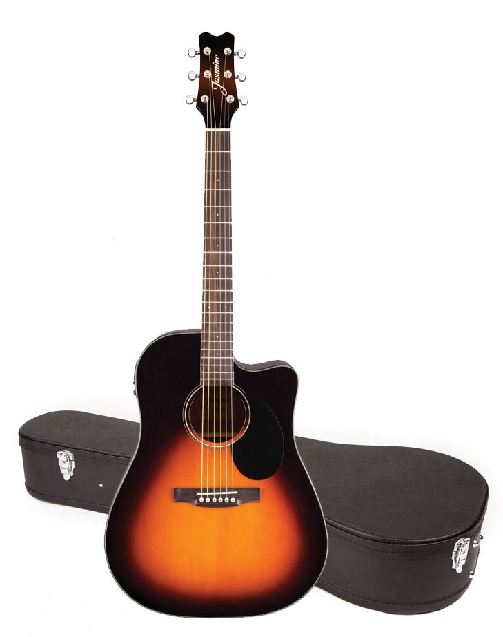 Jasmine JD39CE Acoustic-Electric Guitar With Hardshell Case - Sunburst