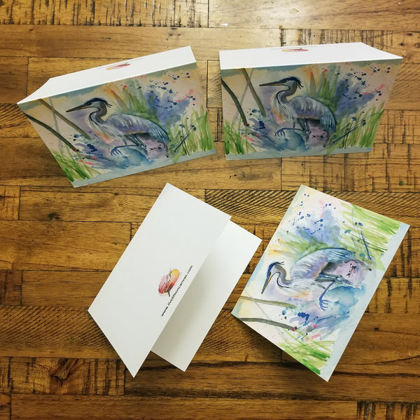 Abstract Heron - Greeting Cards
