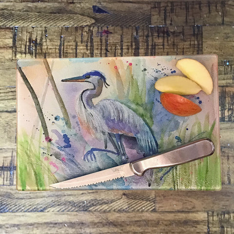 Abstract Blue Heron Cutting Board