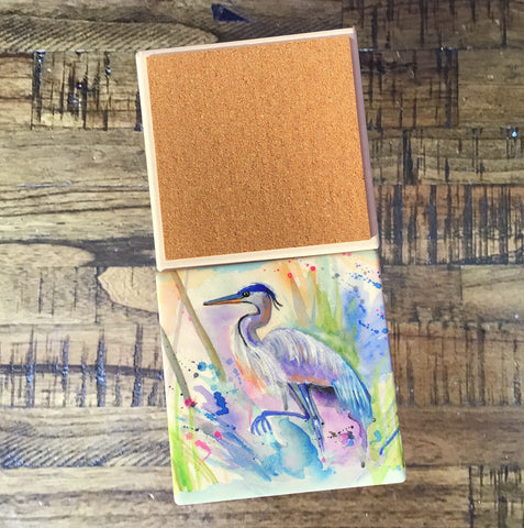 Square Abstract Blue Heron Coasters - Set of 4