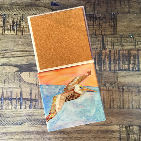 Square Brown Pelican Sandstone Coasters - Set of 4