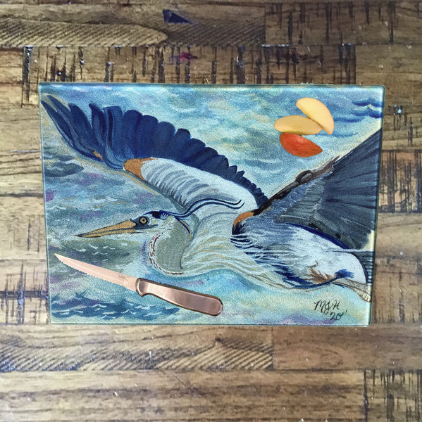 Flying Blue Heron Cutting Board